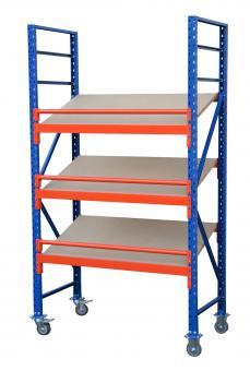 Schrägbodenregal fahrbar,mobil, 230cm, 3 Ebenen,60cm tief,150cm hoch