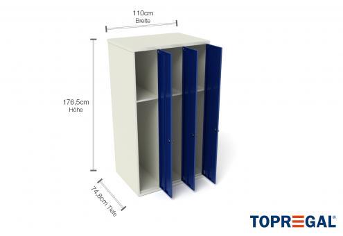 Spind mit 3 Türen, 74,8cm tief für MFR1000