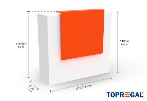 VERA120 Empfangstheke, B-Ware, Weiss-Orange, mit LED-Beleuchtung