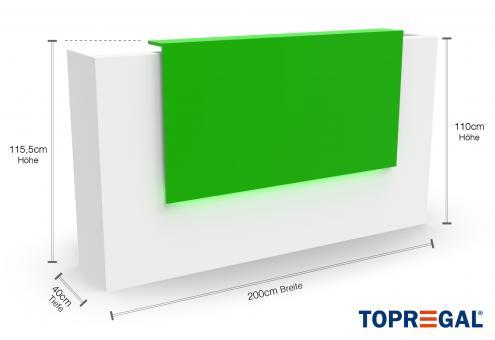 VERA200 Empfangstheke, B-Ware, Weiss-Grün, mit LED-Beleuchtung