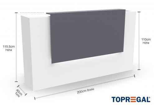 VERA200 Empfangstheke, B-Ware, Weiss-Grau, mit LED-Beleuchtung