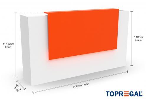 VERA200 Empfangstheke Weiss-Orange, mit LED-Beleuchtung