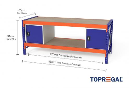 Werkbank MFW1000 2,3m Breite mit Holzboden & 2xWST Werkzeugschränken, 60cm tief, Tischhöhe 91cm