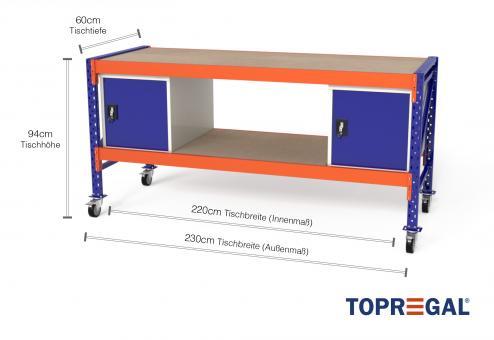 Werkbank fahrbar MFW100, 2,3m Breite mit Holzboden & 2xWST Werkzeugschränken, 60cm tief, Tischhöhe 94cm