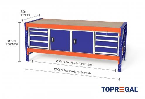 Werkbank MFW1000, 2,3m Breite mit je 2xWS4, 2xWST Werkzeugschrank, 60cm tief, Tischhöhe 91cm
