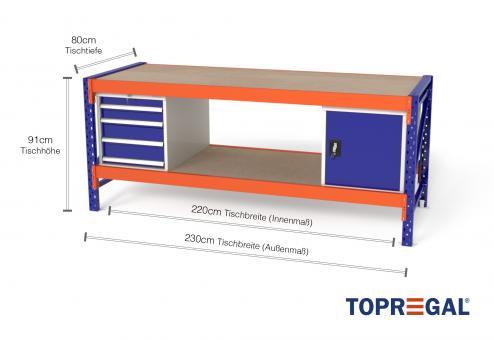 Werkbank MFW1000 2,3m Breite mit Holzboden & je 1xWS4, 1xWST Werkzeugschränken, 80cm tief, Tischhöhe 91cm
