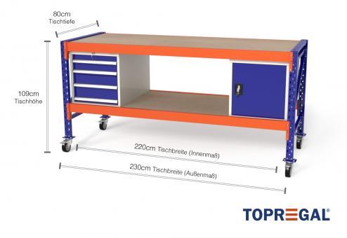 Werkbank MFW1000 fahrbar, 2,3m Breite mit Holzboden & je 1xWS4, 1xWST Werkzeugschränken, 80cm tief, Tischhöhe 109cm