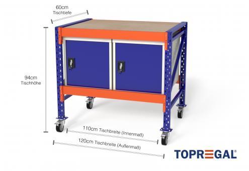 Werkbank fahrbar MFW1000, 1,2m Breite mit 2 WST Werkzeugschränken, 60cm tief, Tischhöhe 94cm