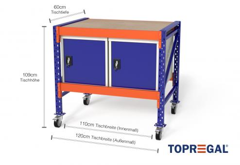 Werkbank fahrbar MFW1000, 1,2m Breite mit 2 WST Werkzeugschränken, 60cm tief, Tischhöhe 109cm