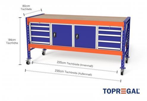 Arbeitstisch mit Rollen MFW1000 fahrbar, 2,3m Breite mit je 2xWS4, 2xWST Werkzeugschränken, 80cm tief, Tischhöhe 94cm