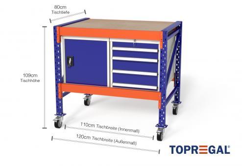 Werkbank mit Rollen MFW1000 fahrbar, 1,2m Breite mit je 1xWS4, 1xWST Werkzeugschrank, 80cm tief, Tischhöhe 109cm