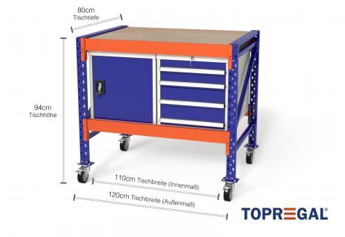 Werkbank mit Rollen MFW1000 fahrbar, 1,2m Breite mit je 1xWS4, 1xWST Werkzeugschrank, 80cm tief, Tischhöhe 94cm