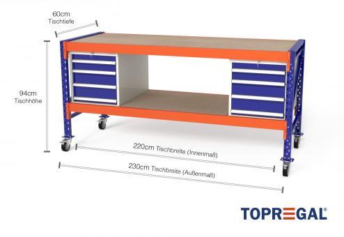 Werkbank fahrbar MFW1000, 2,3m Breite mit Holzboden & 2xWS4 Werkzeugschränken, 60cm tief, Tischhöhe 94cm