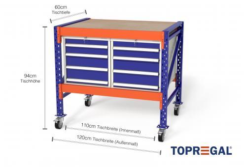 Werkstattwagen MFW1000 fahrbar, 1,2m Breite mit 2 WS4 Werkzeugschränken, 60cm tief, Tischhöhe 94cm