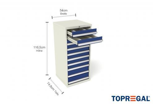 Werkzeugschrank WS10 mit 10 Schubladen, 80cm tief für Lagerregal/MFR1000