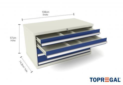 Werkzeugschrank WS4 mit 4 Schubladen 110cm breit/80cm tief für MFW/MFR1000