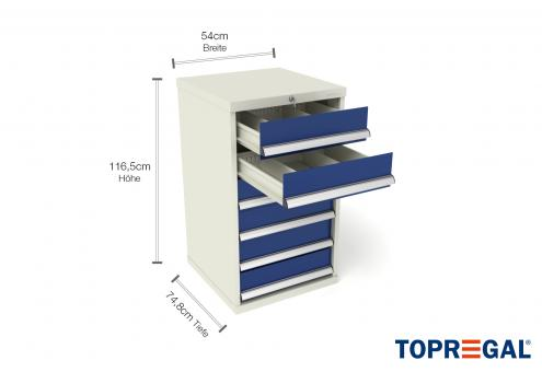 Werkzeugschrank WS6 mit 6 Schubladen, 74,8cm tief für Lagerregal/MFR1000