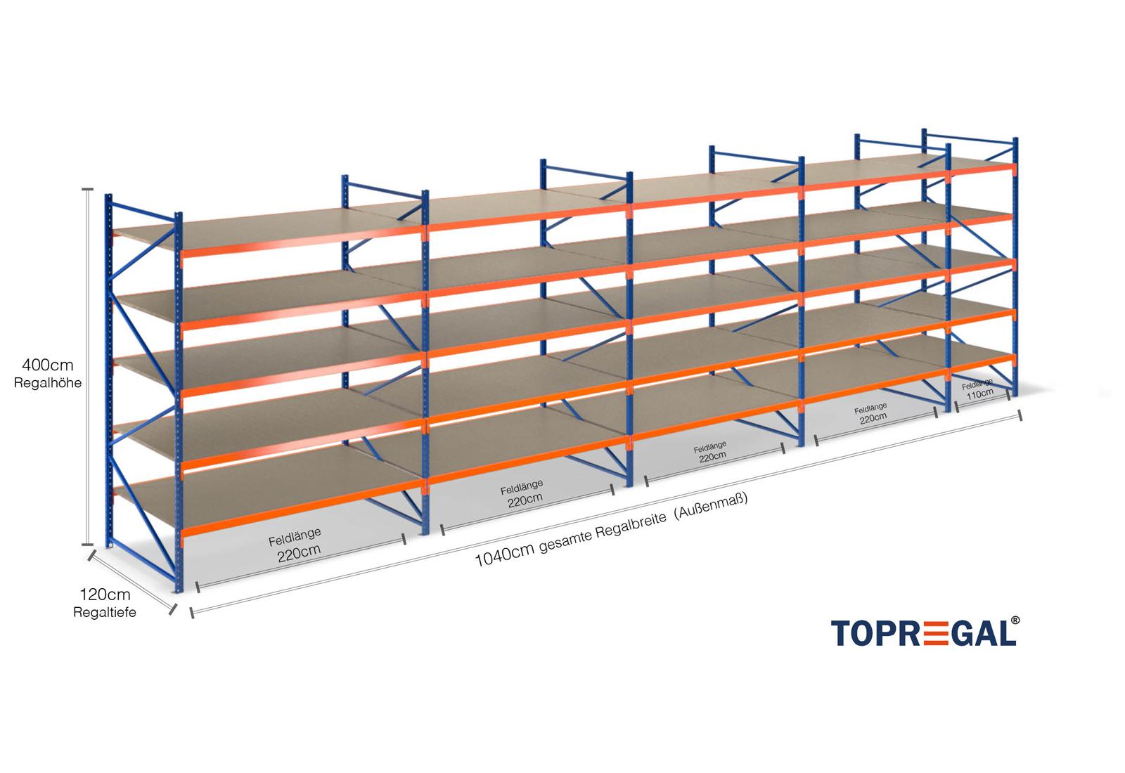 10 4m lagerregal 400cm hoch 120cm tief mit 5 ebenen inkl holzb den. Black Bedroom Furniture Sets. Home Design Ideas