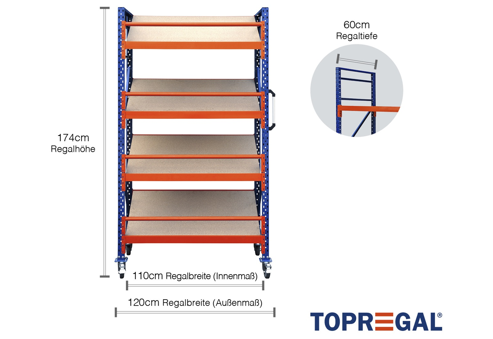 lagerregal fahrbar 1 2m breit mit 4 ebenen inkl schr gb den 60cm tief regalh he 174cm. Black Bedroom Furniture Sets. Home Design Ideas