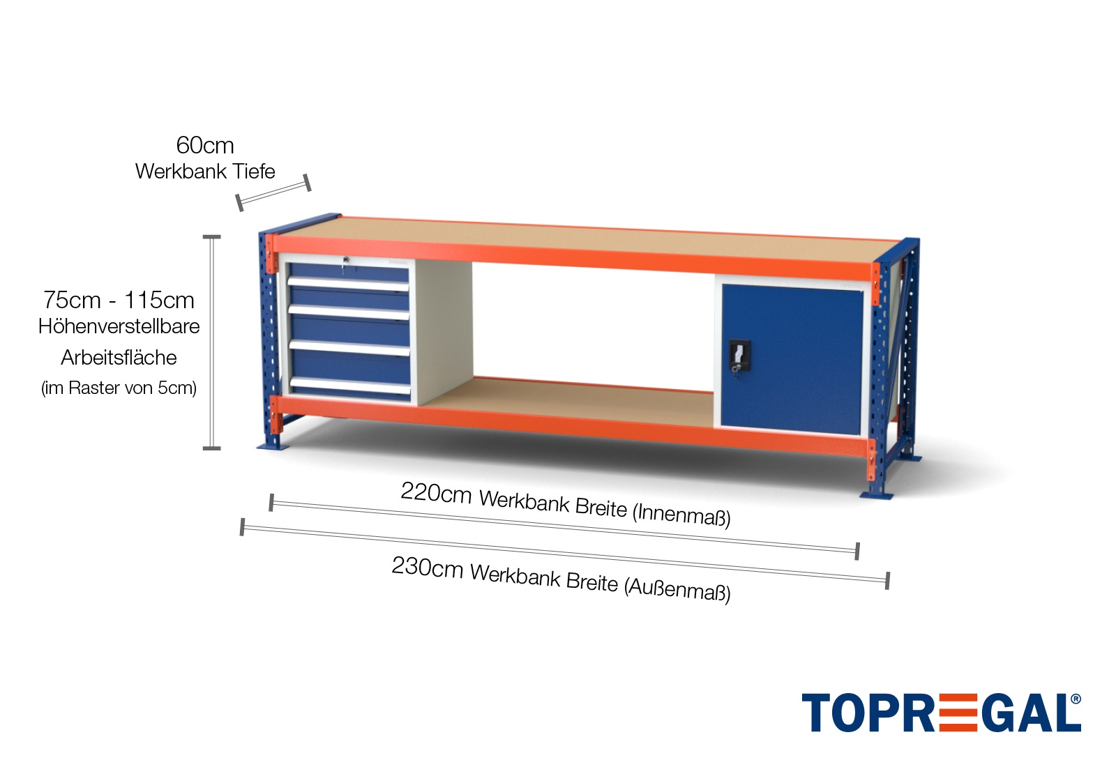 Turbo Werkbank MFW1000 2,3m Breite mit Holzboden & je 1xWS4, 1xWST QJ27