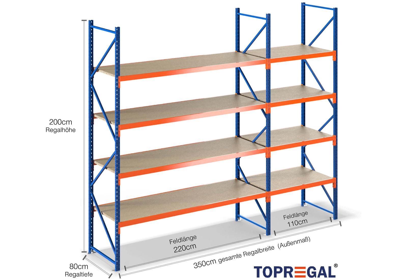 Lagerregal 3 5m breit 2m hoch 80cm tief 4 ebenen mit for Gartenteich 80 cm tief