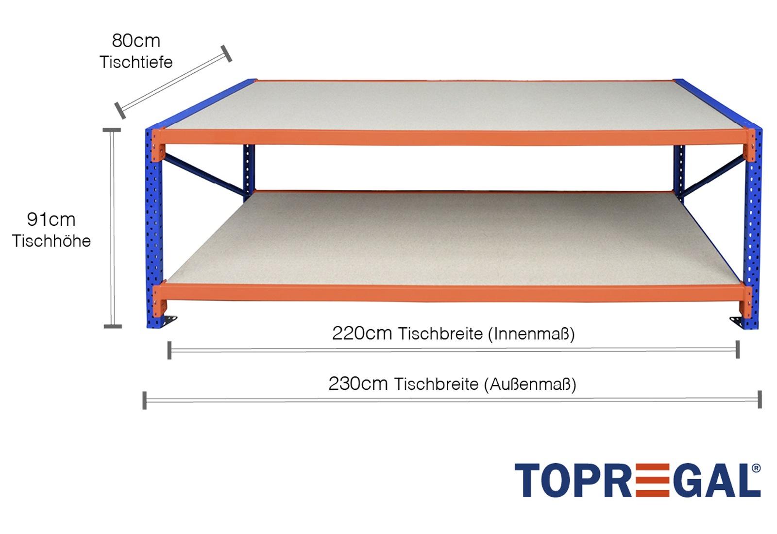 packtisch lagerregal grundtisch 2 3m mit 2 ebenen inkl holzb den 80cm tief tischh he 91cm. Black Bedroom Furniture Sets. Home Design Ideas