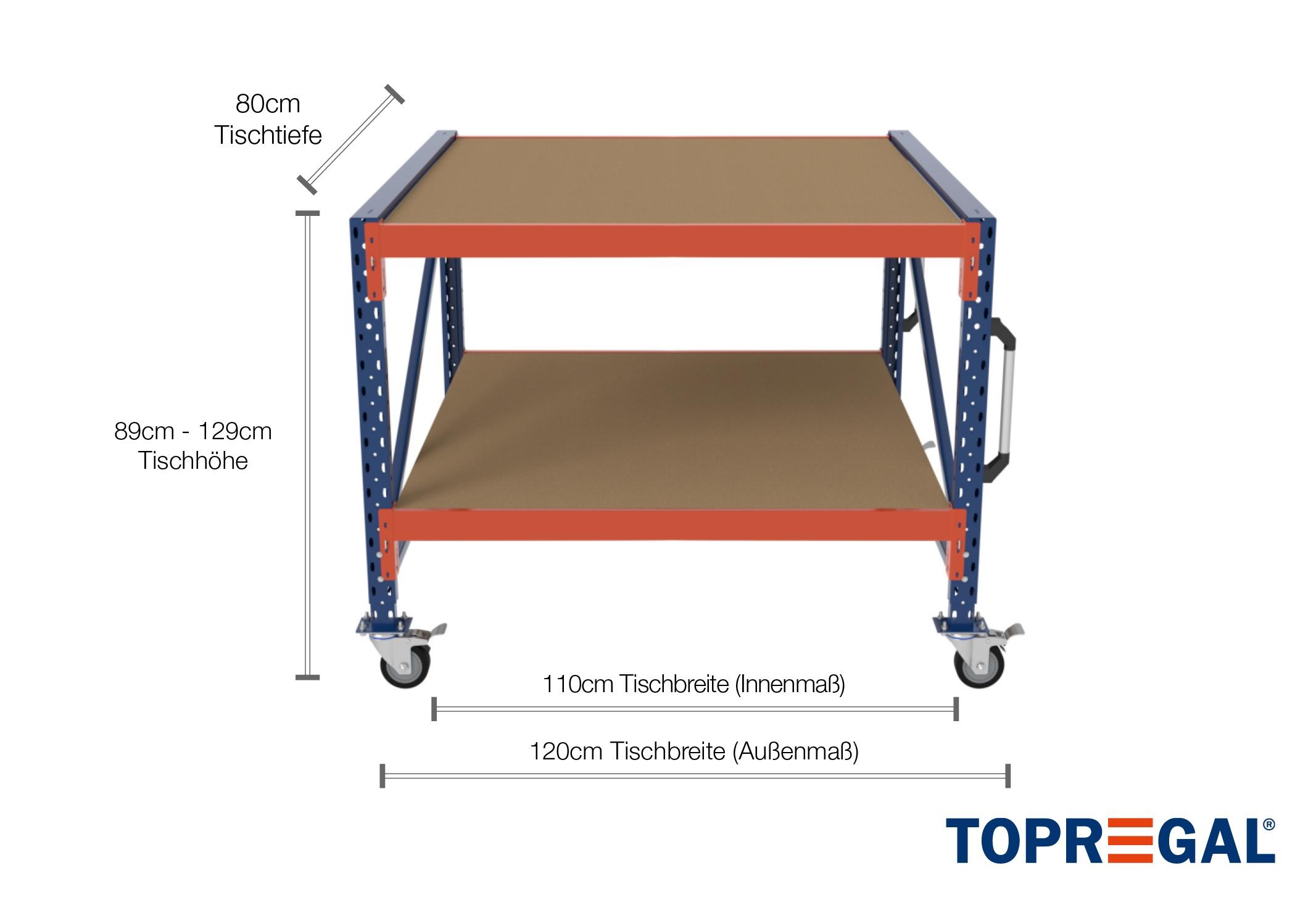 1 2m arbeitstisch lagerregal fahrbar 89 129cm tischh he for Gartenteich 80 cm tief