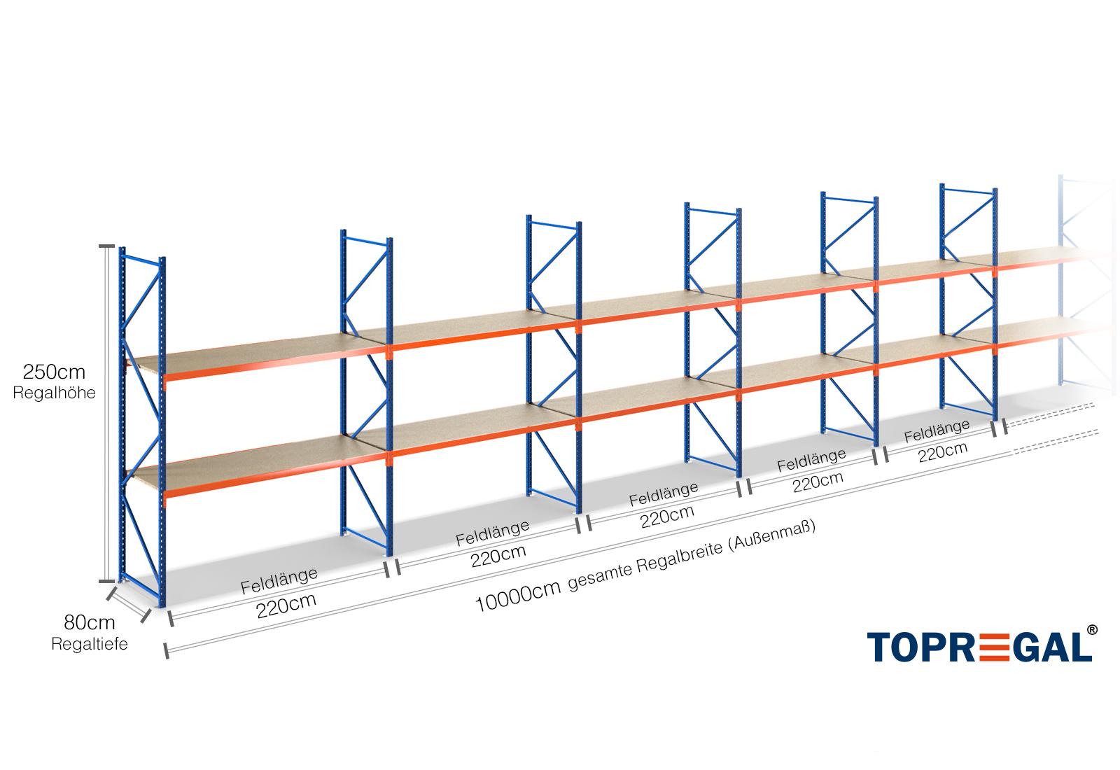 100m lagerregal 250cm hoch 80cm tief mit 2 ebenen inkl for Gartenteich 80 cm tief