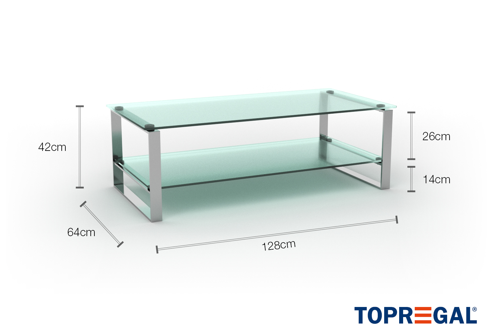 Picture of: Kim Glass Coffee Table Clear Tempered Glass Chrome Frame Topregal