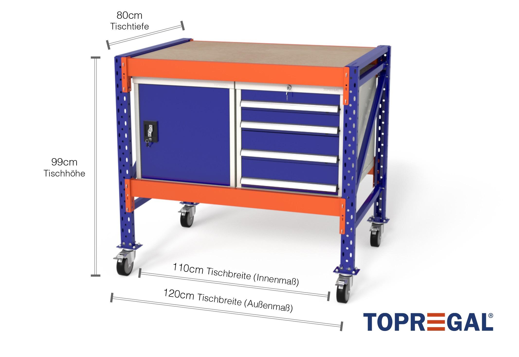 werkbank mit rollen mfw1000 werkb nke fahrbar mit je 1xws4 1xwst werkzeugschrank b 120cm t. Black Bedroom Furniture Sets. Home Design Ideas