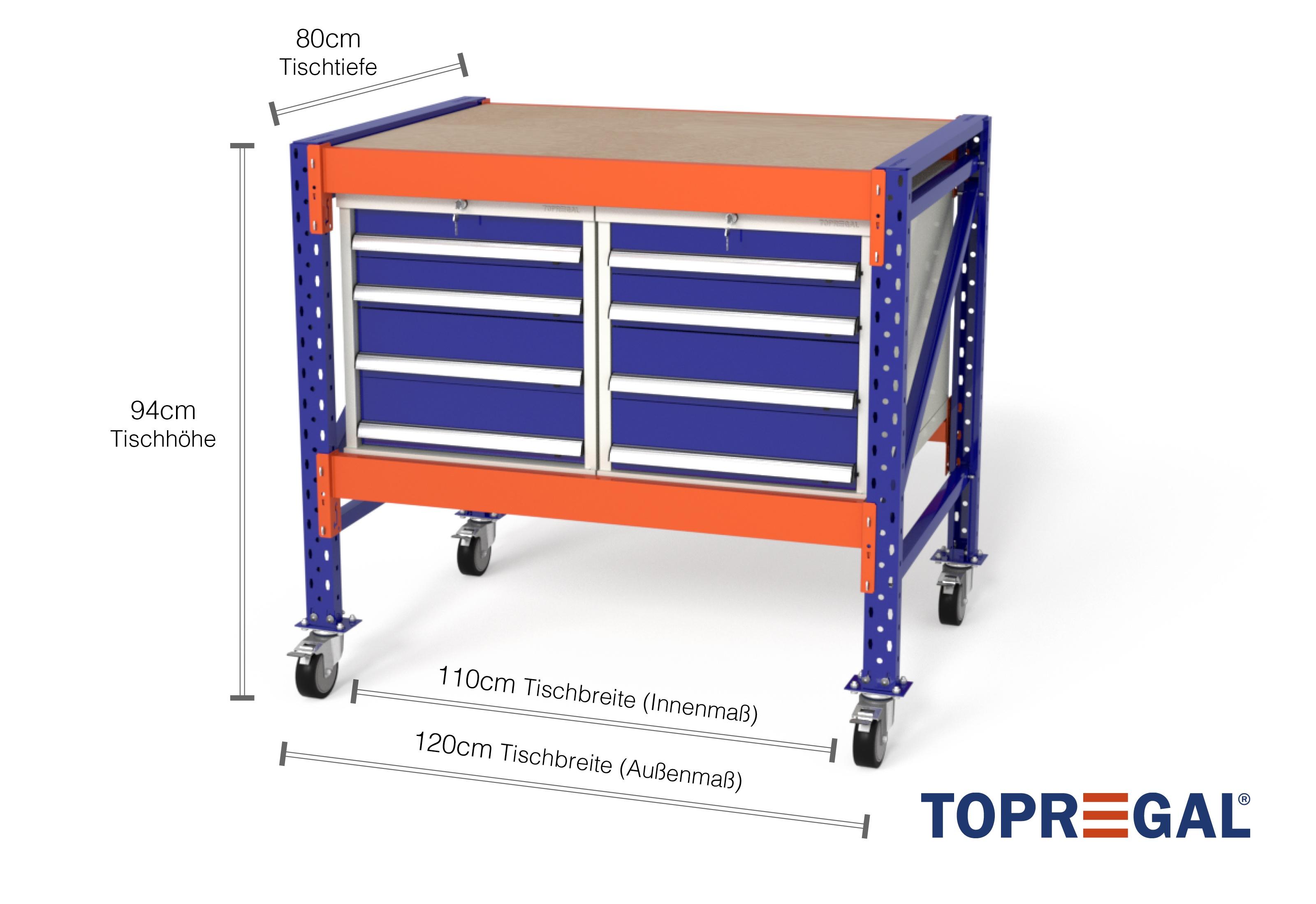 werkzeugwagen mfw1000 fahrbar 1 2m breite mit 2 ws4. Black Bedroom Furniture Sets. Home Design Ideas