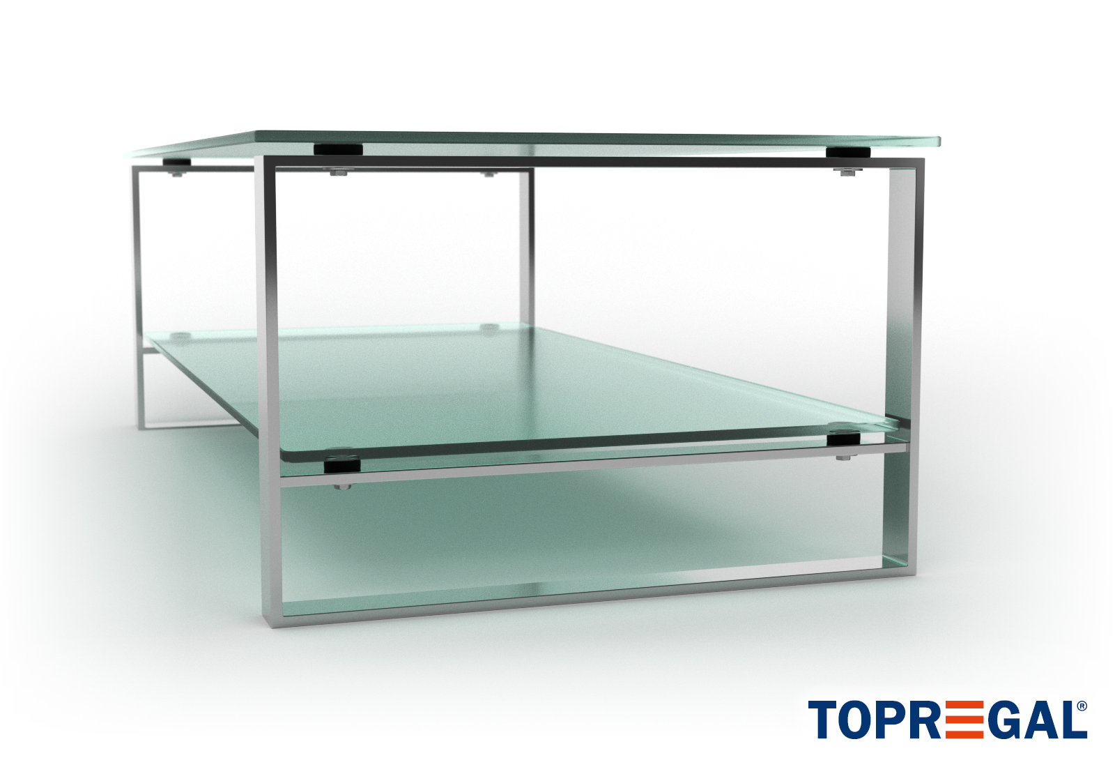 - KIM Glass Coffee Table Clear, Tempered Glass, Chrome Frame