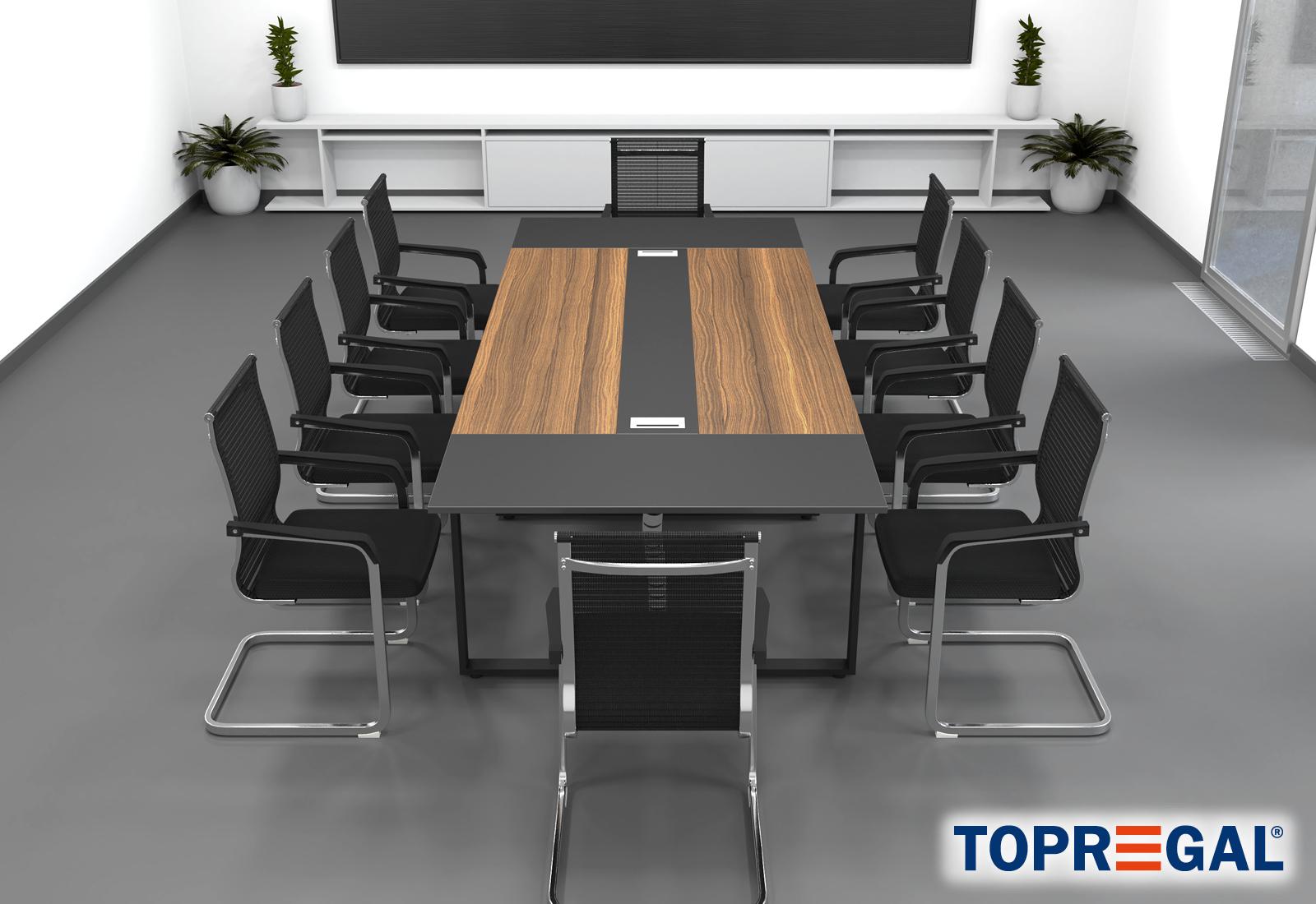 Set Tavolo Da Conferenza Anja280 Grigio Noce 10 Sedie Marina Topregal