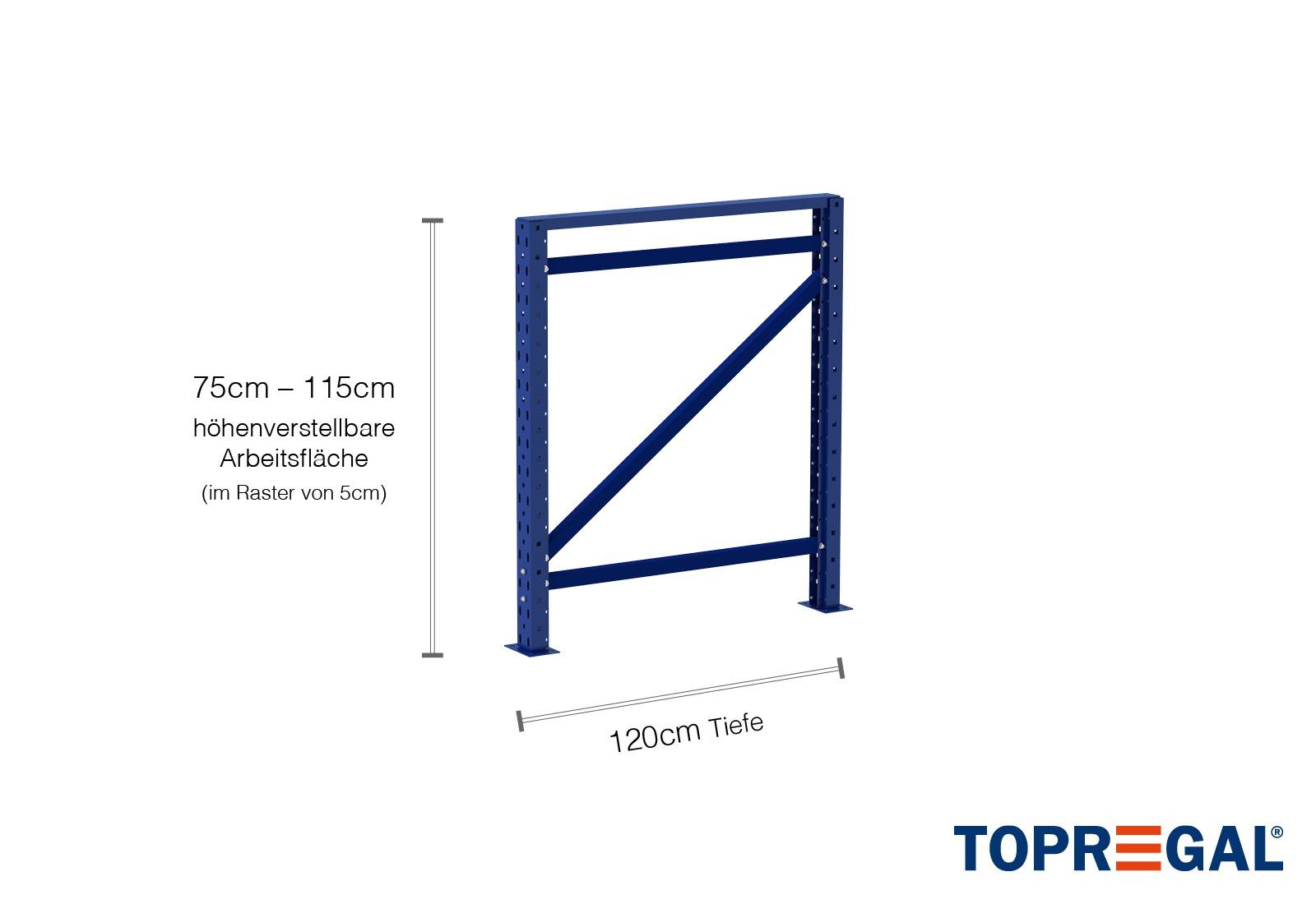 Table Travail Pour Rayonnage Stockage Table De Base De 2 3m Hauteur De Table De 75 à 115cm Profondeur 120cm Avec 2 Niveaux étagères En Bois